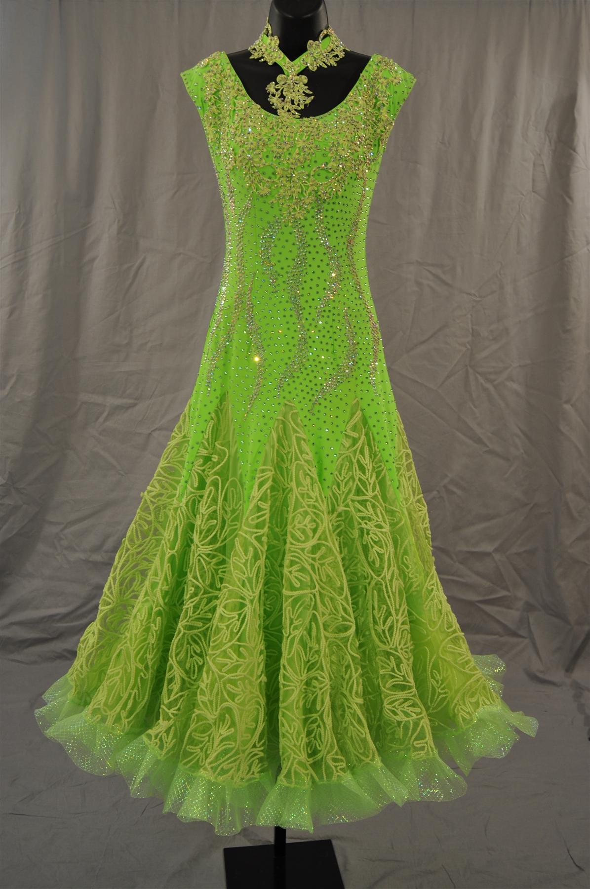 Patterned Skirt Lime Green Ballroom Dress