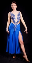 Elegant Nude & Royal Blue Ballroom Dress