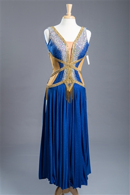 Blue Gold Sexy Ballroom Dress