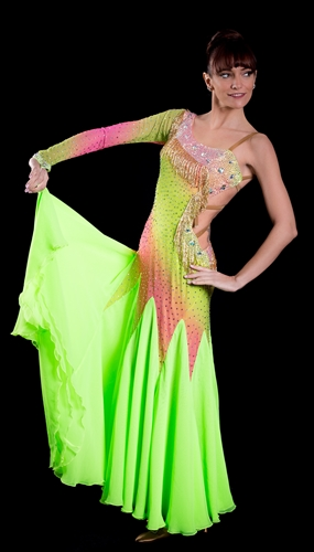 Sexy & Elegant Electric Green Beads Ballroom Dress