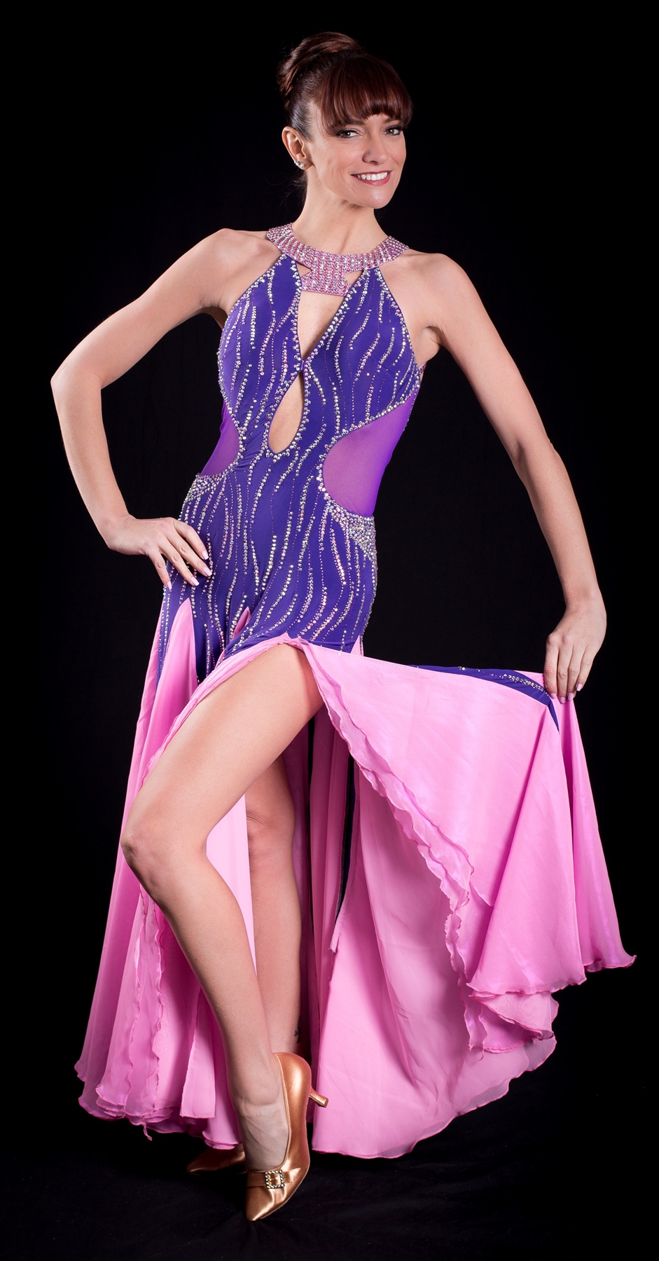 Elegant Sexy Pink Purple Ballroom Dress
