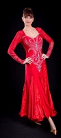 Elegant Red Lace Sleeves and Insert Ballroom Dress