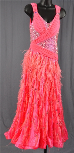 Pink Grape Fruit Feather Stoned Skirt Ballroom Dress
