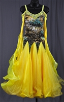 Elegant Yellow Leopard Ballroom Dress