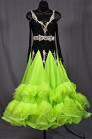 Elegant Black and Lime Green Feather Long Sleeves Ballroom Dress