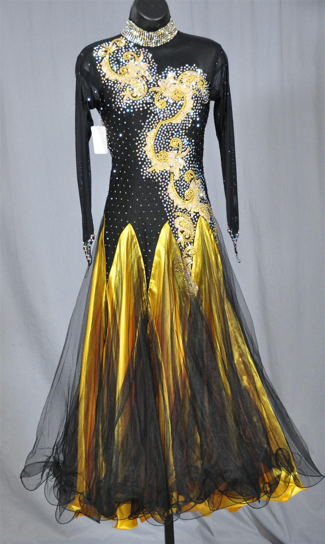 Elegant Black And Gold Long Mesh Sleeves Ballroom Dress