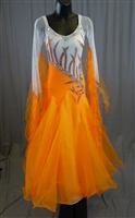 Elegant White and Orange Ballroom Dress