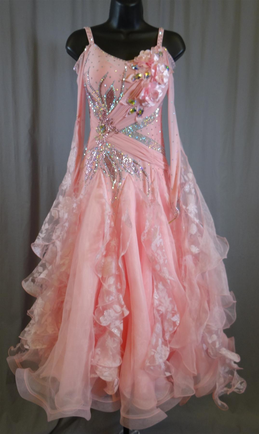Elegant Pink Flower Ballroom Dress