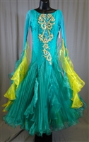 Elegant Cool Aqua & Yellow Pleaded Skirt Ballroom Dress