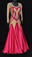 Elegant Nude and Fuchsia Ballroom Dress