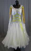 Elegant White & Yellow Ballroom Dress