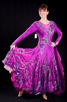 Elegant Fuchsia Shinny Skirt Ballroom Dress