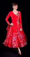 Elegant Red Shinny Skirt Ballroom Dress