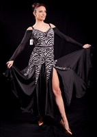 Elegant Black & White Zebra Print Ballroom Dress
