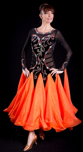 Sexy & Elegant Black and Orange Ballroom Dress