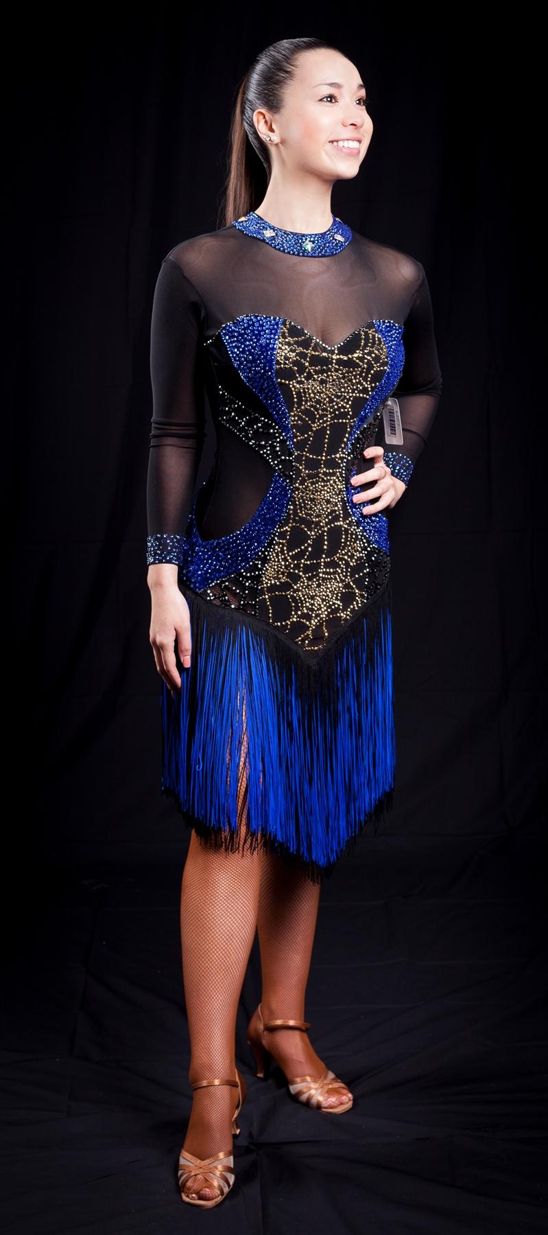 Sexy Black Amp Blue Fringe Latin Dress