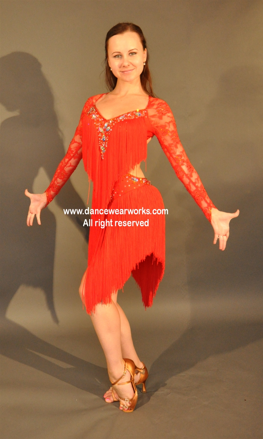 806baa6d6c0 Sexy red fringe Latin dress