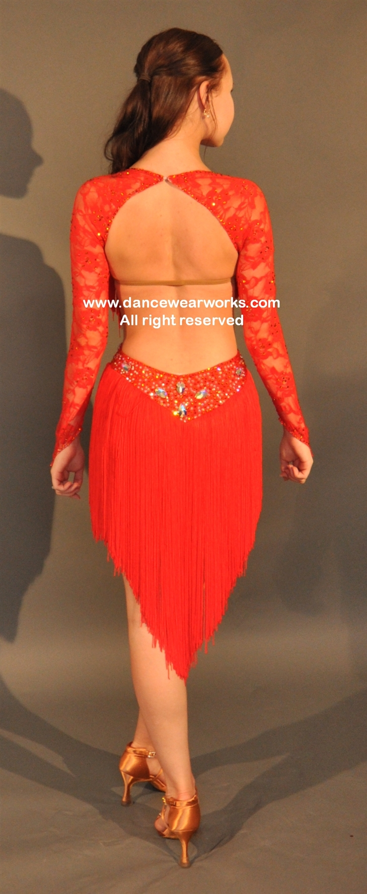 Sexy Red Fringe Latin Dress