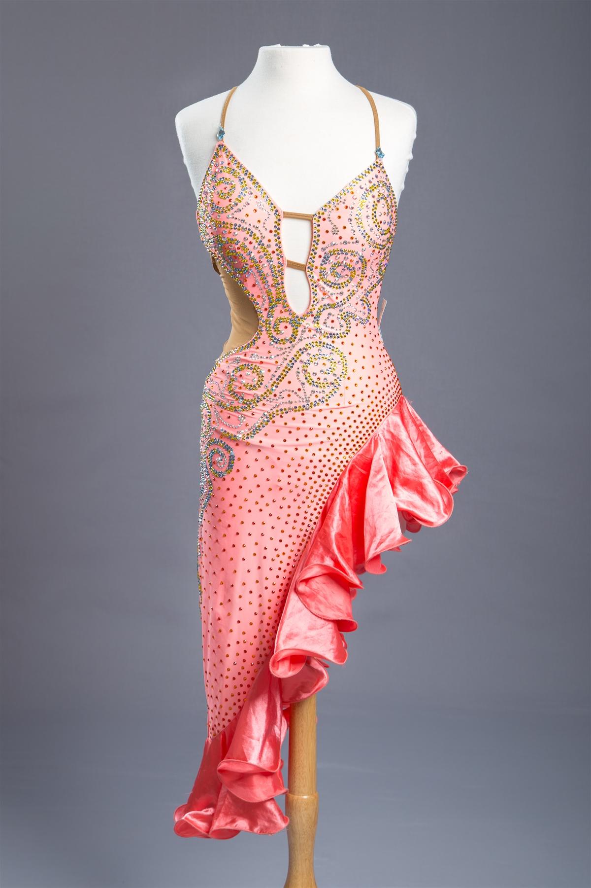 Sexy Coral Ruffle Latin Dress