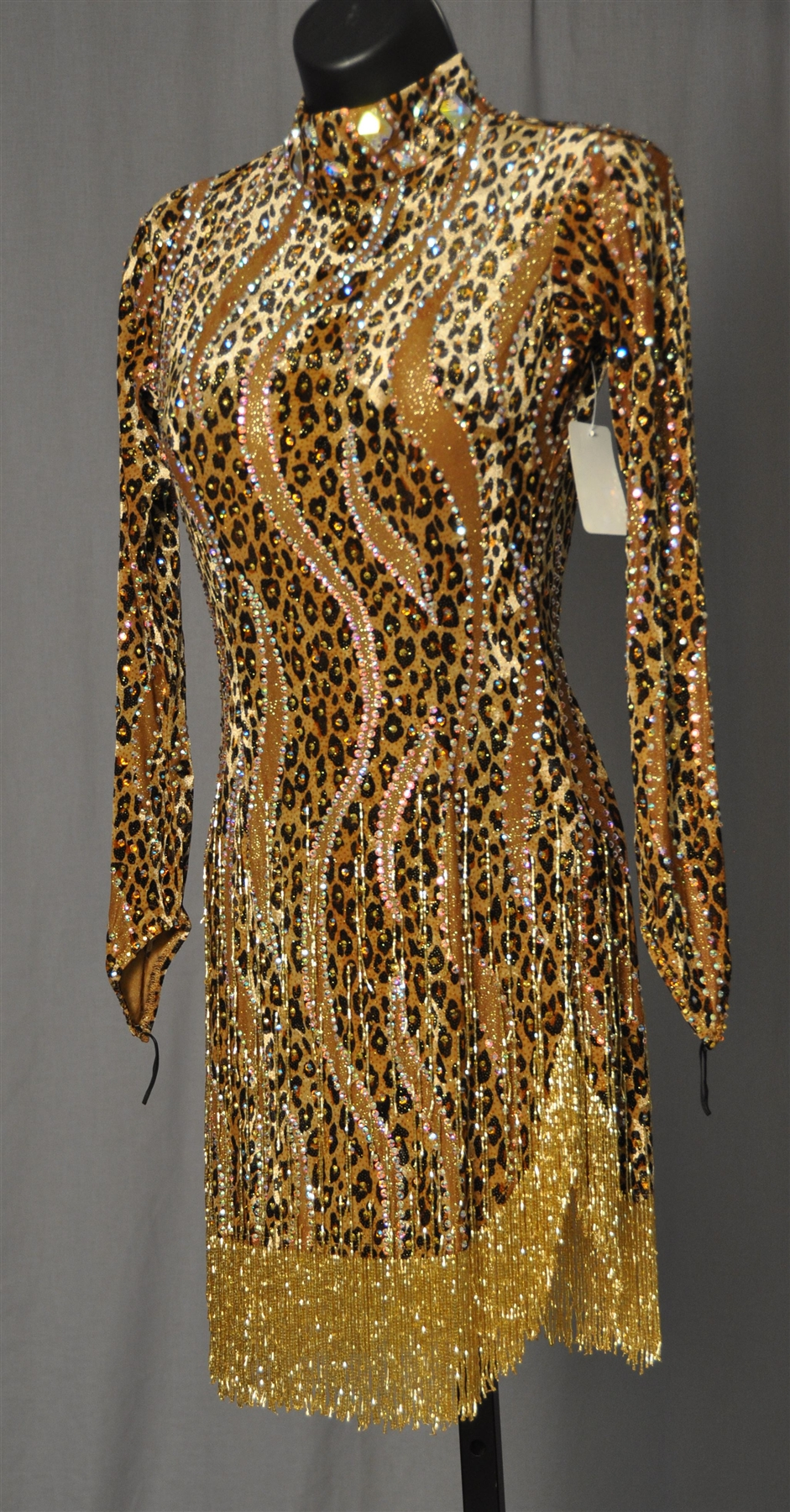 Sexy Gold Leopard Beads Latin Dress-2719