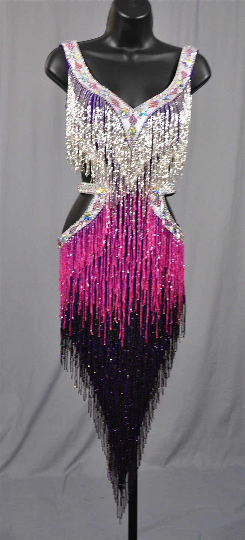 Sexy Silver Amp Purple Beads Fringe Latin Dress