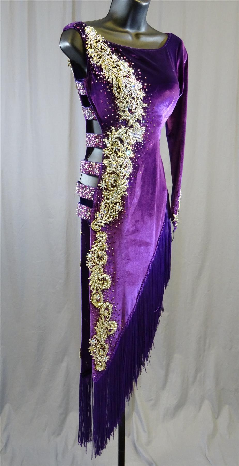Sexy Side Open Purple Velvet Latin Dress