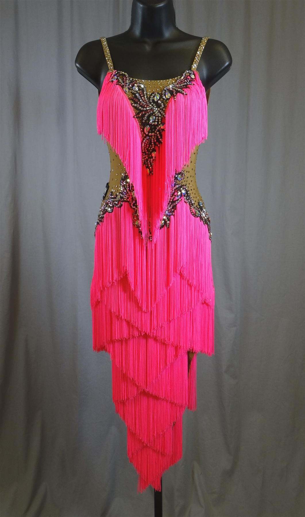 sexy hot pink fringe latin dress