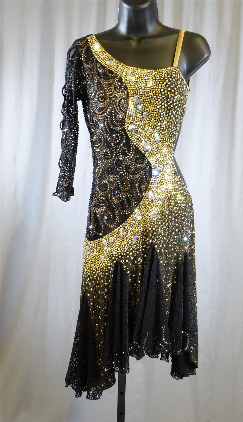 Sexy Black And Yellow Lace Latin Dress