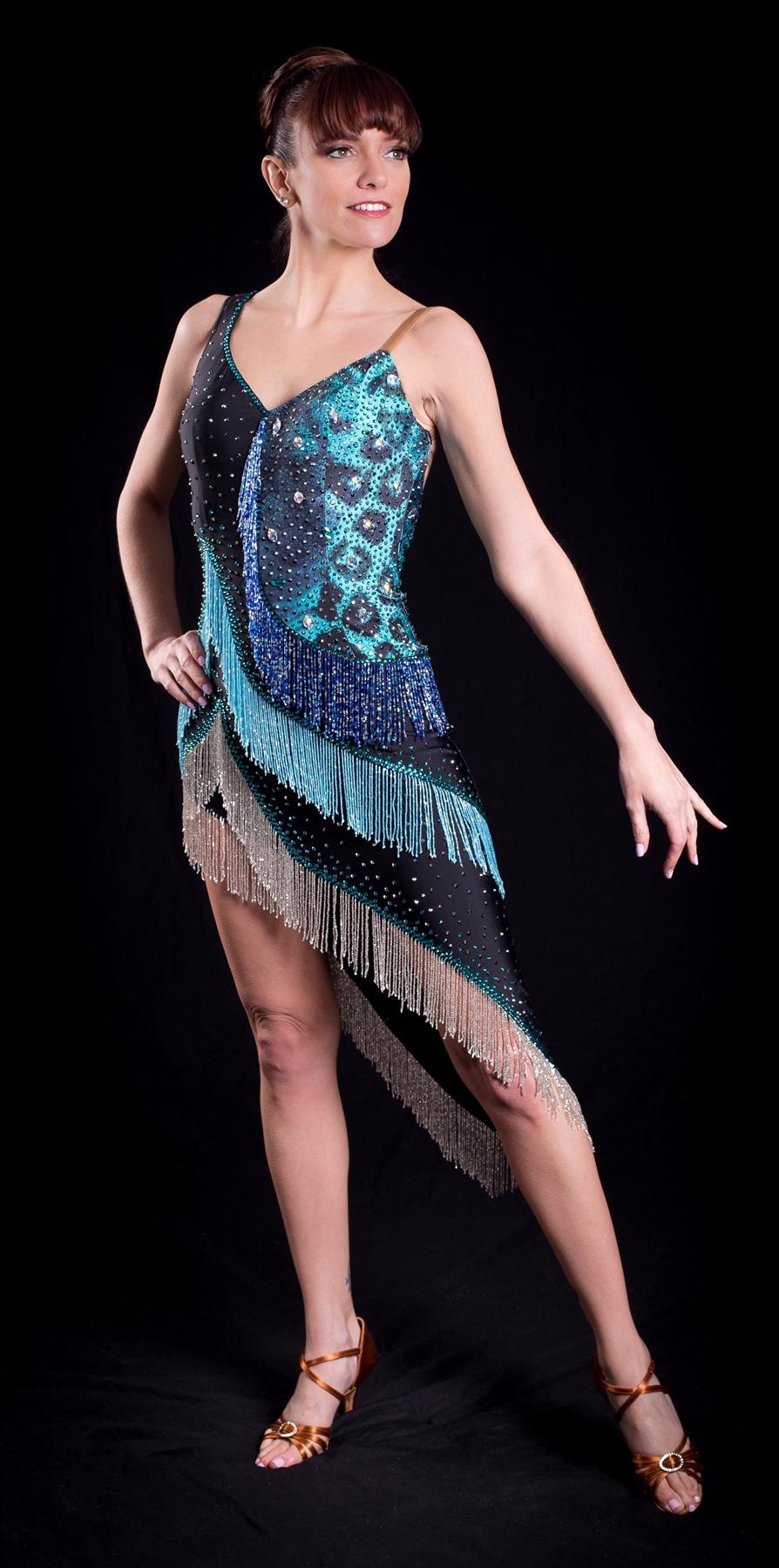 Aqua Fringe Dress