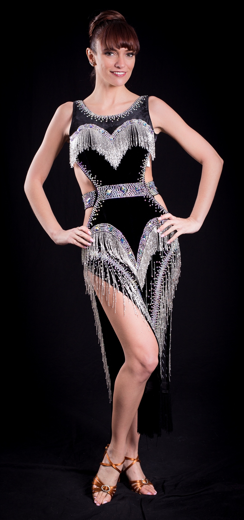 Sexy Black Velvet with Silver Beaded Fringe Latin Dress