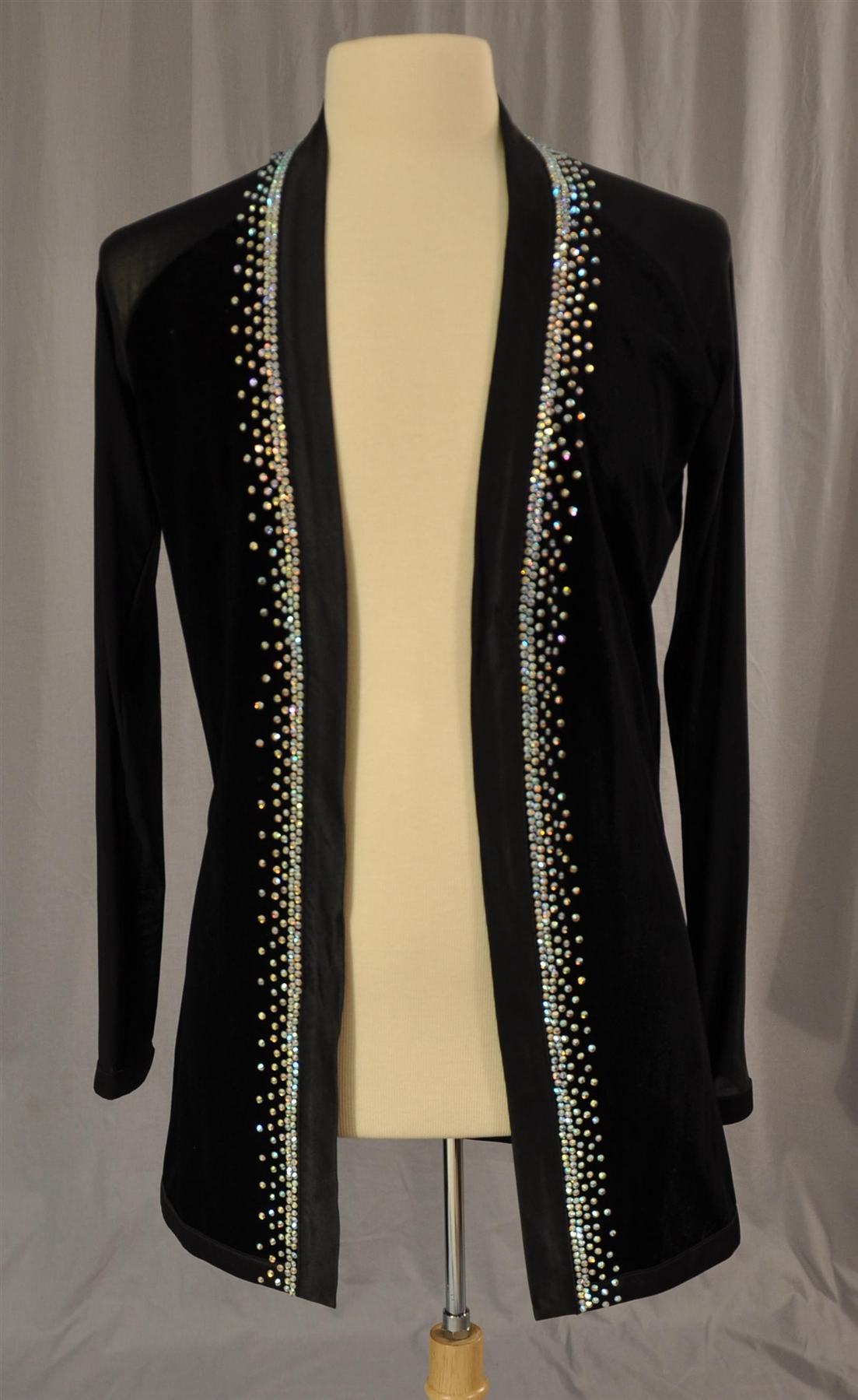 mens stoned velvet with mesh sleeves wear out latin shirt