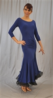 Elegant Ruffle Ballroom Dance Dress with Built-in Body Suit