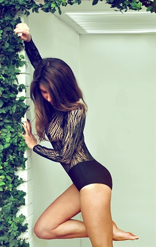 GrandPrix Patterned See Through Ballroom Dance Body Suit