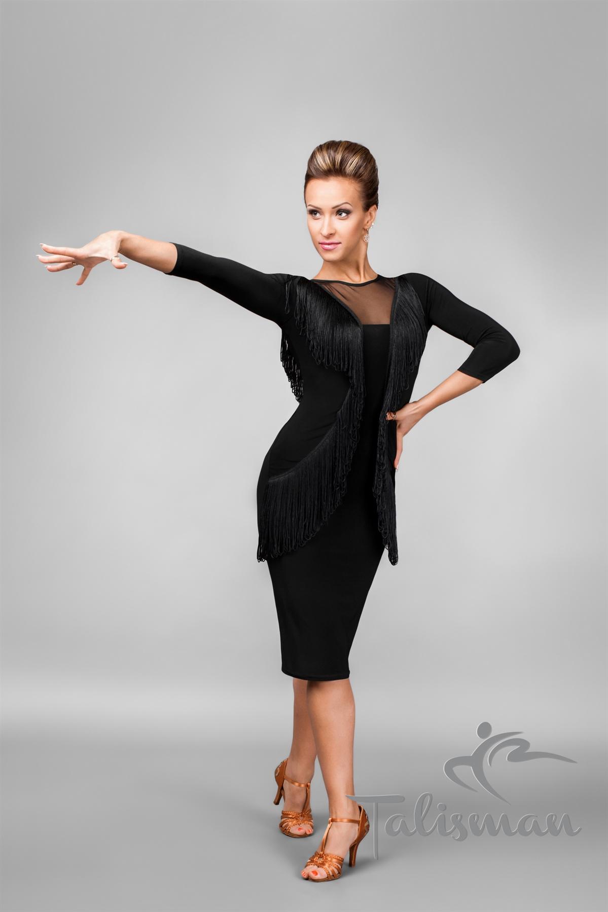 Sexy Back Mesh Fringe Latin Dress