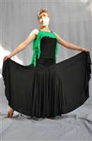 Wrinkle Waist Wide Ballroom Dance Skirt with built-in under pants