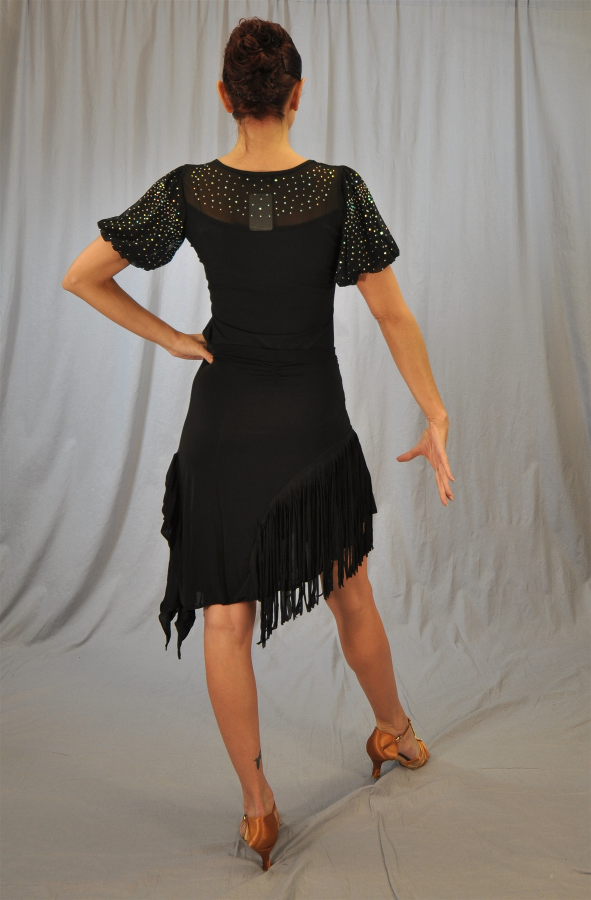 Side Ruffle Slanted Cloth Fringe Latin Skirt With Built In