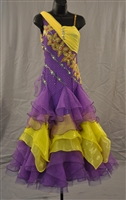 Purple Yellow Ballroom Dress with Arm Flows