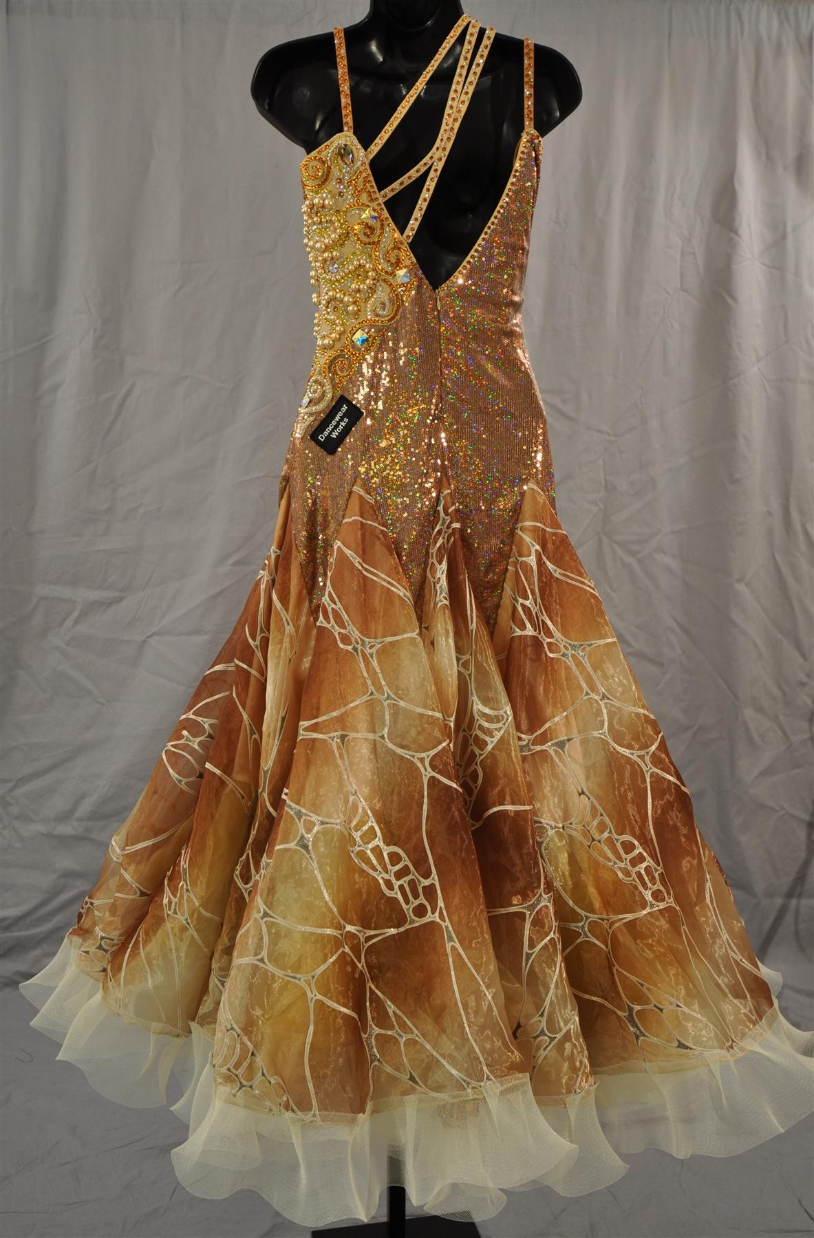 Gold Ballroom Dress With Dramatic Swarovski Stones And