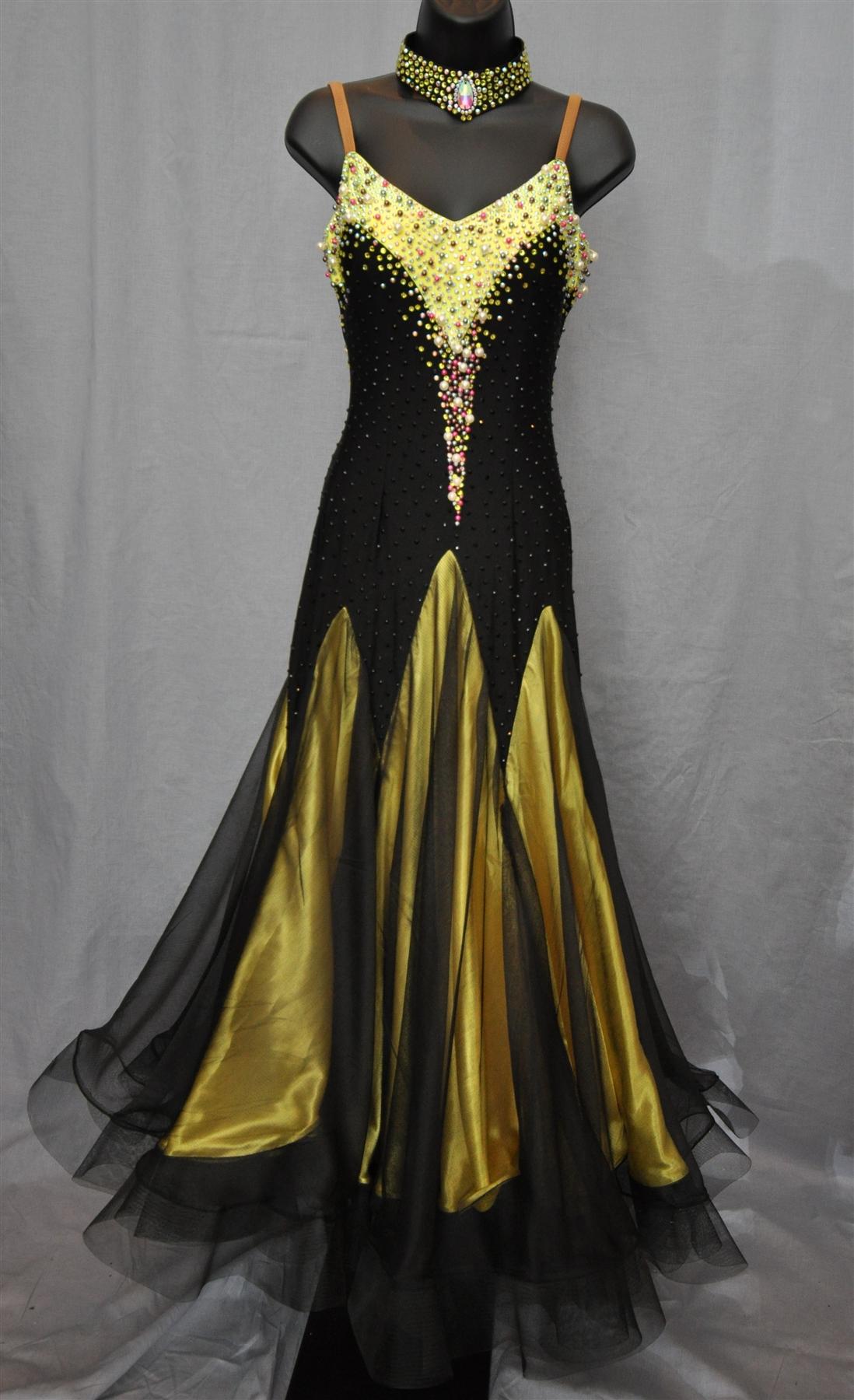 Black & Yellow Pearl Ballroom Dress
