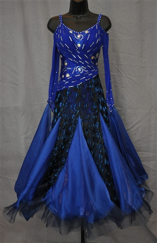 Royal Blue With Black Rose Skirt Ballroom Dress