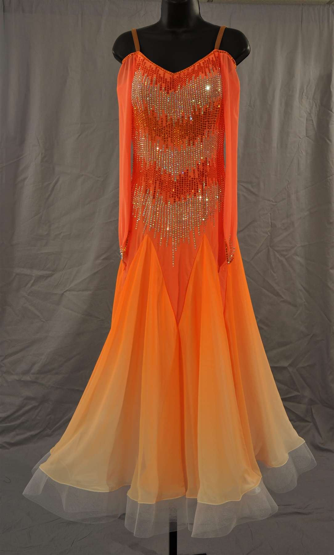 Dyed Orange Ballroom Dress