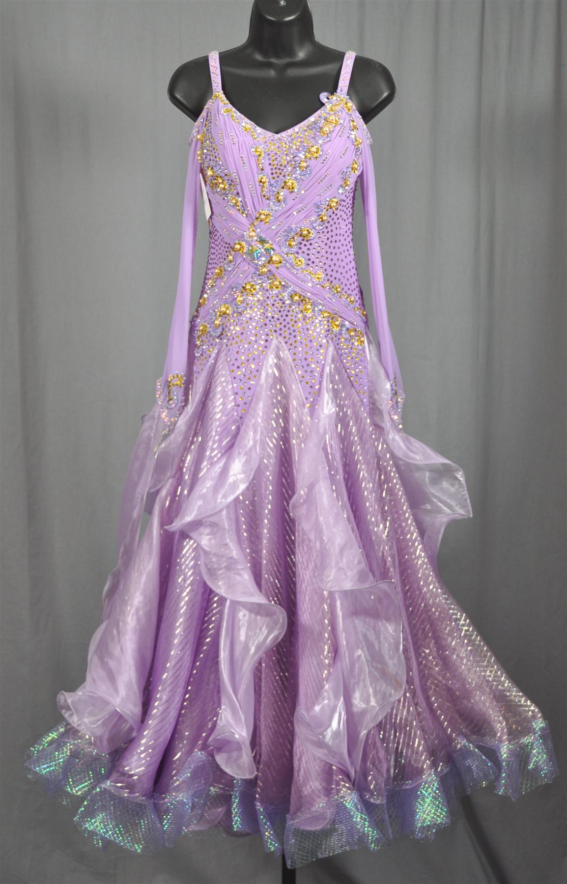 f7970192f5 Drop Shoulder Long Sleeves Purple Korean Yarn Swarovski Ballroom Dress