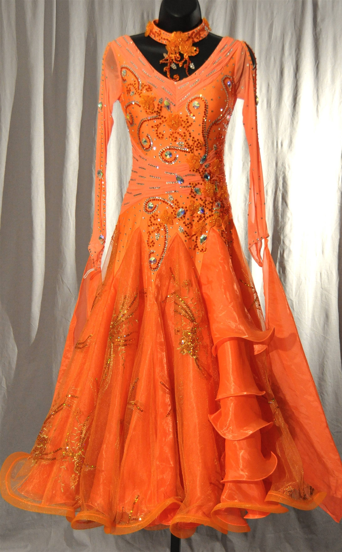 5f01caf74 Elegant Orange Mesh Sleeves Ballroom Dress