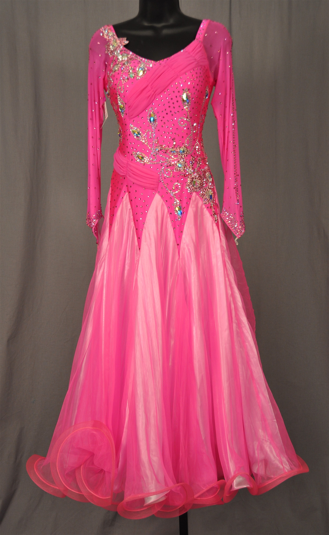 Long Key Hole Mesh Sleeves Hot Pink Ballroom Dress