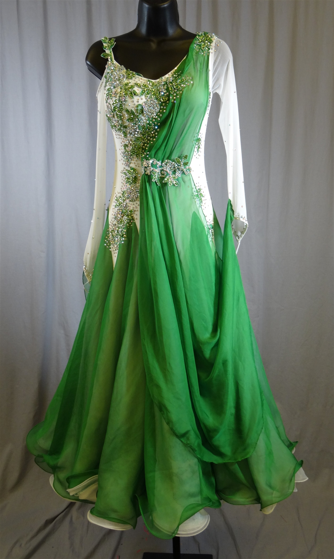 Elegant White Amp Green Long Mesh Sleeves Ballroom Dress