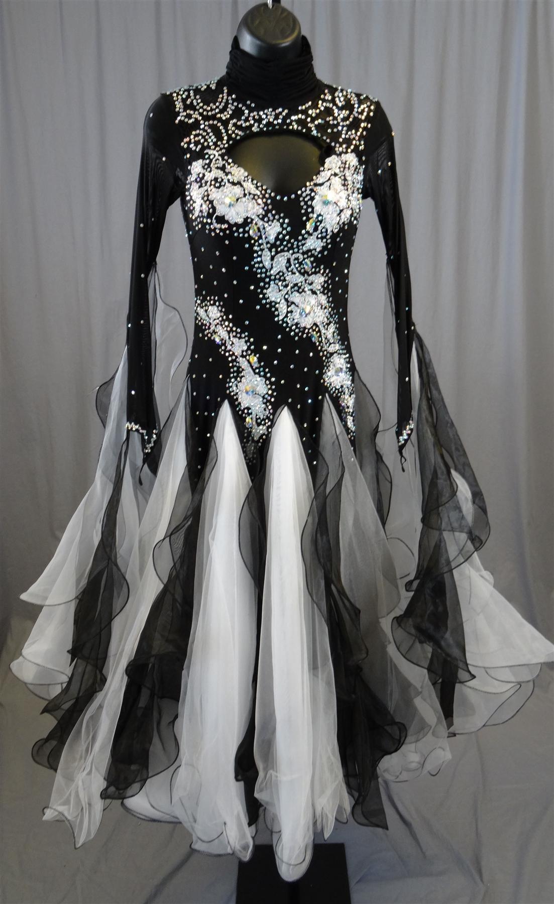 9998d21b9568f Elegant Black & White Ballroom Dress