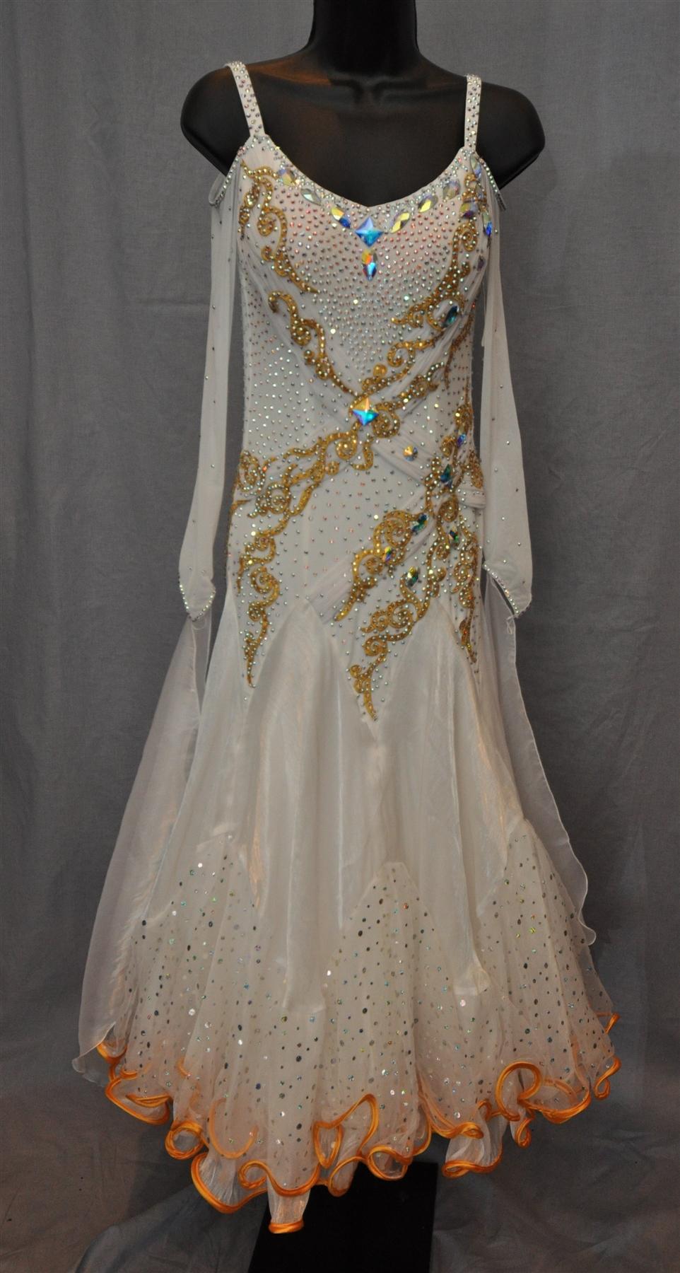 White and Gold Drop Shoulder Mesh Long Sleeves Ballroom Dress