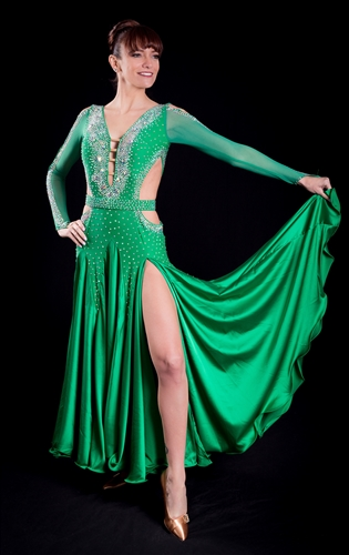 Sexy Long Sleeves Green Ballroom Dress with Belt