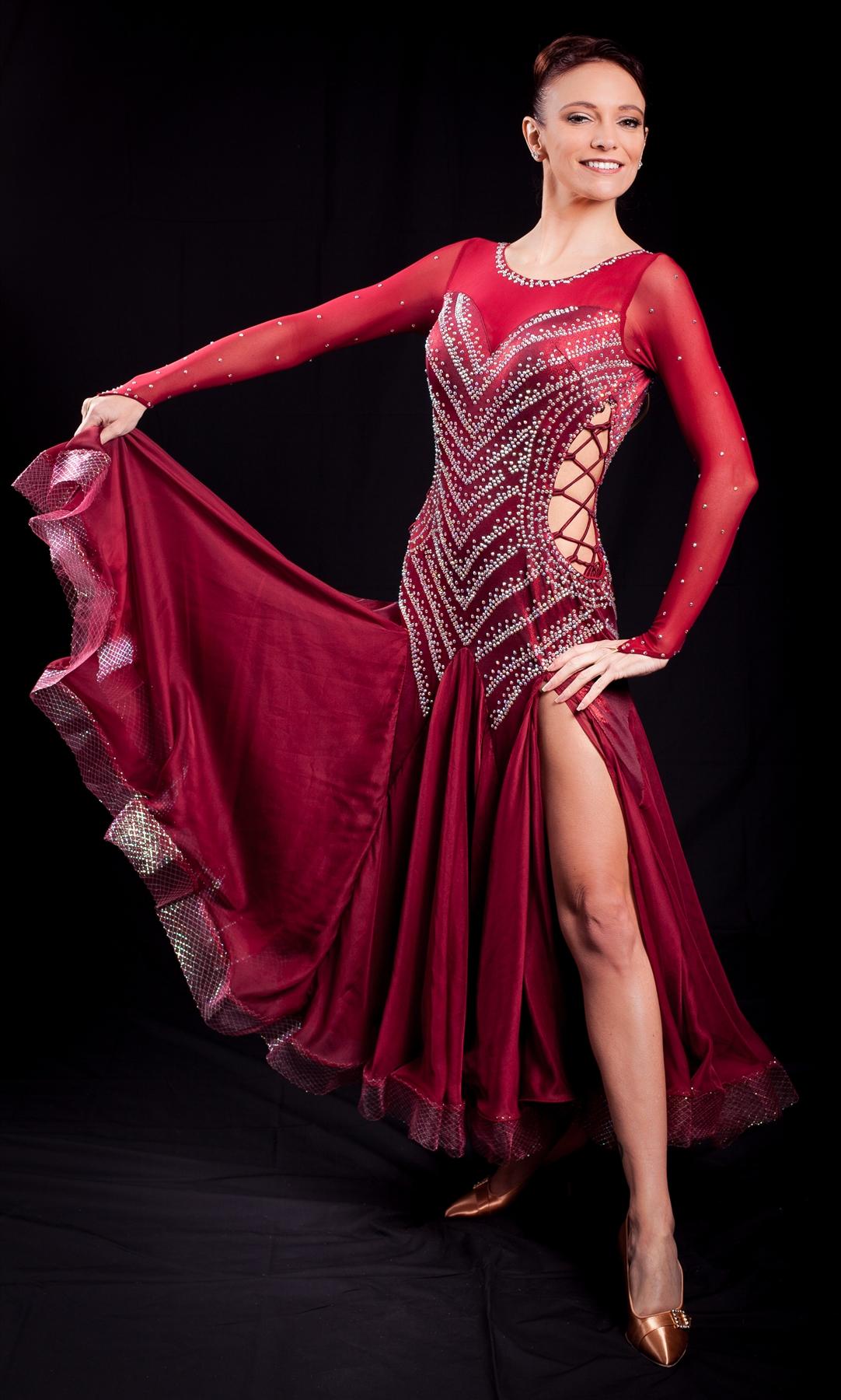 74c596410daab Elegant & Sexy Burgundy Ballroom Dress Larger Photo ...